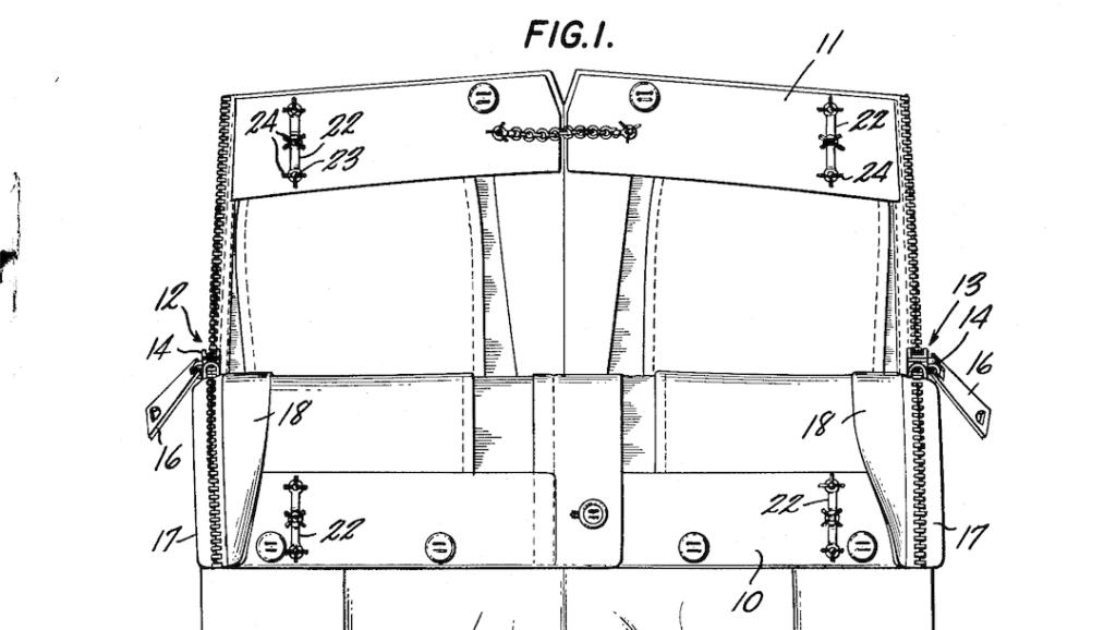 Dessin du patron des jeans adaptés par la styliste Helen Cookmann. Le modèle est ouvert et on voit les fermetures éclairs sur les deux côtés du pantalon.