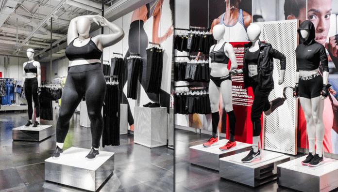 Dans un magasin Nike des mannequins aux tailles et aux morphologies différentes portent les vêtements de la marque de sport.