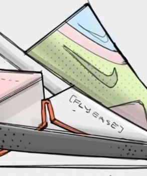 Dessin du projet de la chaussure de sport Nike Go Flyease. La partie devant se soulève pour permettre au pied de rentrer facilement, sans se servir des mains.